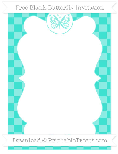 Free Turquoise Checker Pattern Blank Butterfly Invitation