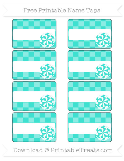 Free Turquoise Checker Pattern Cheer Pom Pom Tags