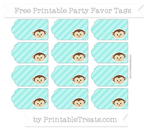 Free Turquoise Diagonal Striped Boy Monkey Party Favor Tags