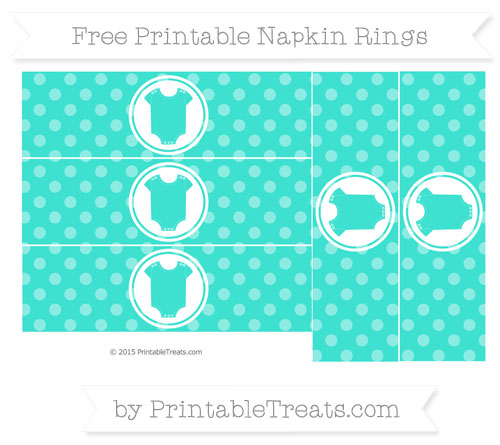 Free Turquoise Dotted Pattern Baby Onesie Napkin Rings