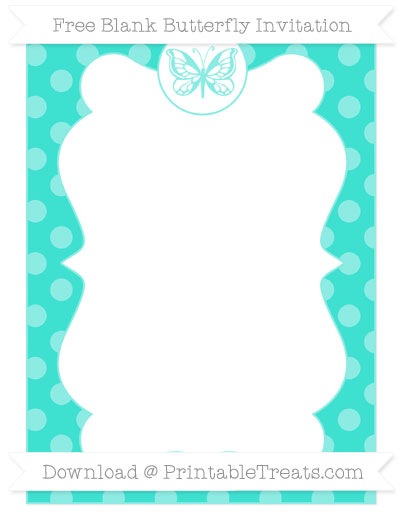 Free Turquoise Dotted Pattern Blank Butterfly Invitation