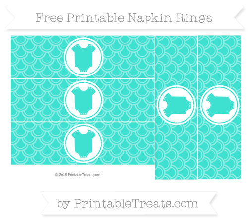 Free Turquoise Fish Scale Pattern Baby Onesie Napkin Rings