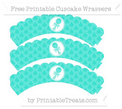 Free Turquoise Fish Scale Pattern Baby Rattle Scalloped Cupcake Wrappers