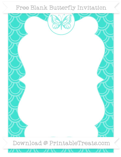 Free Turquoise Fish Scale Pattern Blank Butterfly Invitation