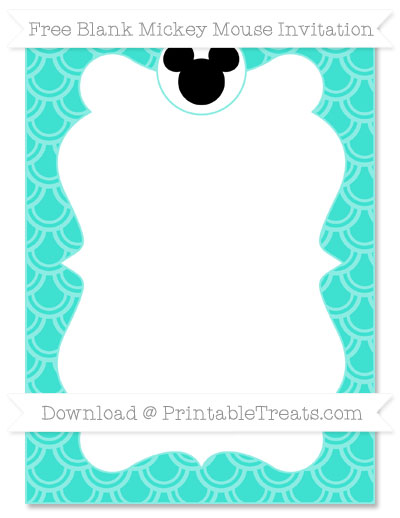 Free Turquoise Fish Scale Pattern Blank Mickey Mouse Invitation