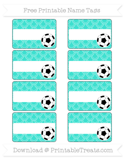 Free Turquoise Fish Scale Pattern Soccer Name Tags