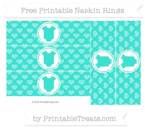 Free Turquoise Heart Pattern Baby Onesie Napkin Rings