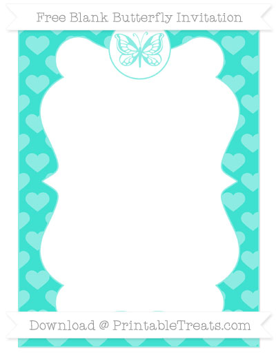 Free Turquoise Heart Pattern Blank Butterfly Invitation