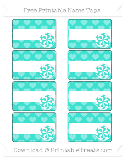 Free Turquoise Heart Pattern Cheer Pom Pom Tags