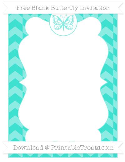 Free Turquoise Herringbone Pattern Blank Butterfly Invitation