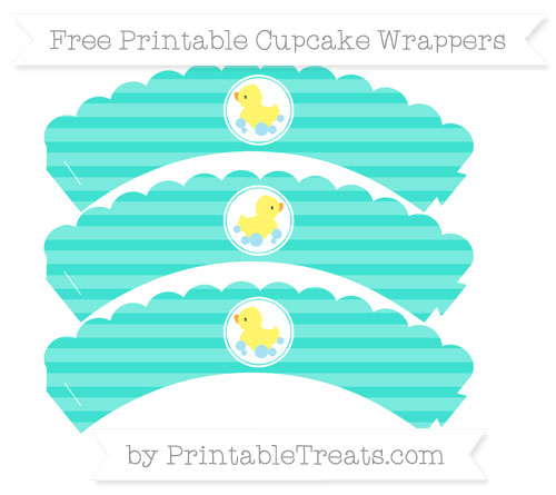 Free Turquoise Horizontal Striped Baby Duck Scalloped Cupcake Wrappers