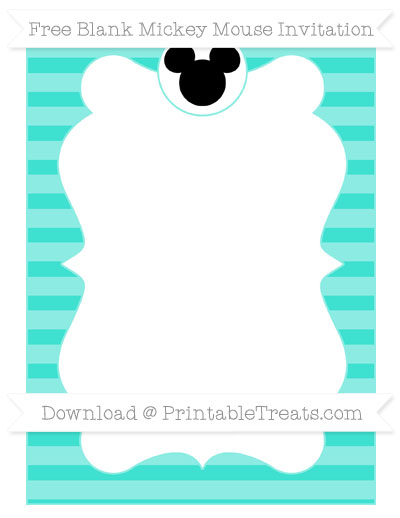 Free Turquoise Horizontal Striped Blank Mickey Mouse Invitation
