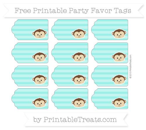 Free Turquoise Horizontal Striped Boy Monkey Party Favor Tags