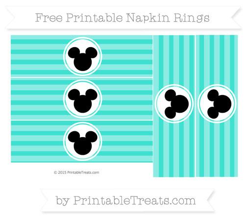 Free Turquoise Horizontal Striped Mickey Mouse Napkin Rings