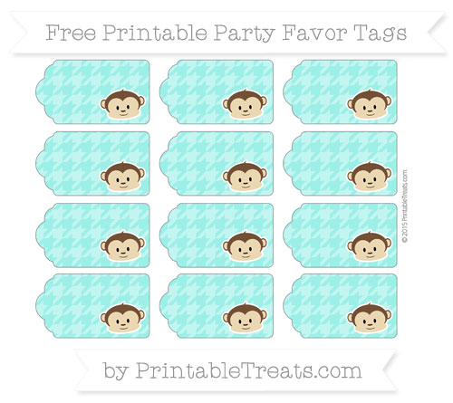 Free Turquoise Houndstooth Pattern Boy Monkey Party Favor Tags