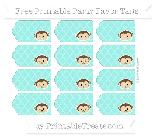 Free Turquoise Moroccan Tile Boy Monkey Party Favor Tags