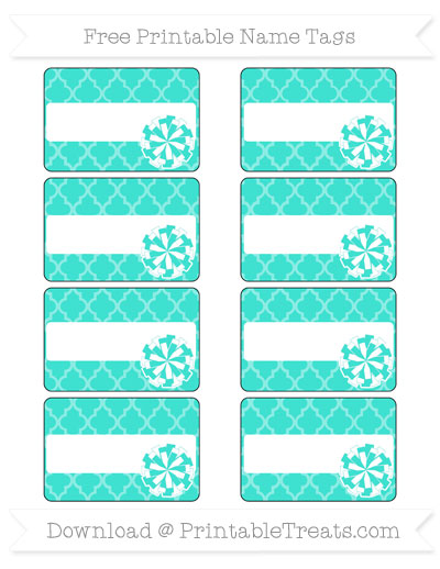 Free Turquoise Moroccan Tile Cheer Pom Pom Tags