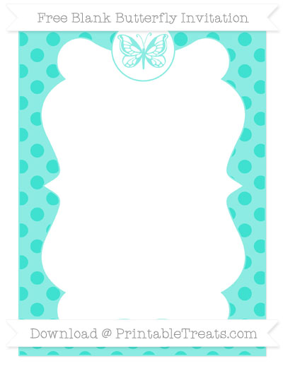Free Turquoise Polka Dot Blank Butterfly Invitation