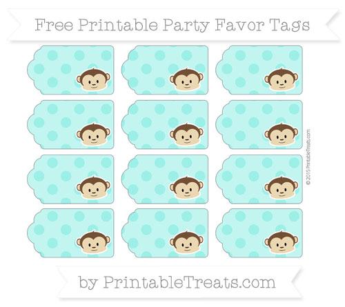 Free Turquoise Polka Dot Boy Monkey Party Favor Tags