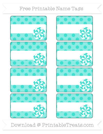 Free Turquoise Polka Dot Cheer Pom Pom Tags