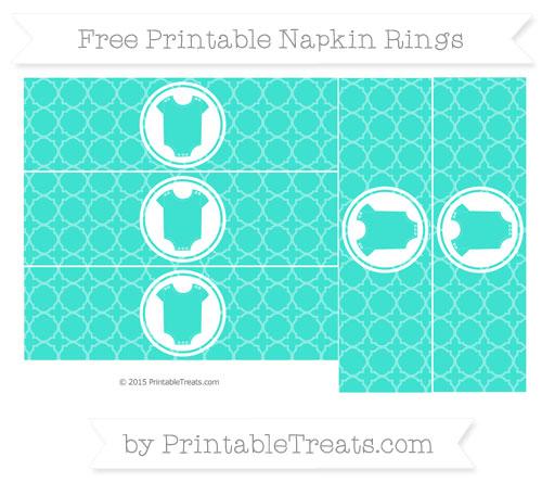 Free Turquoise Quatrefoil Pattern Baby Onesie Napkin Rings