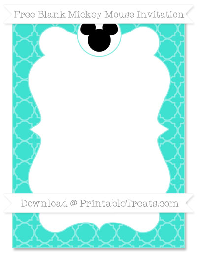 Free Turquoise Quatrefoil Pattern Blank Mickey Mouse Invitation