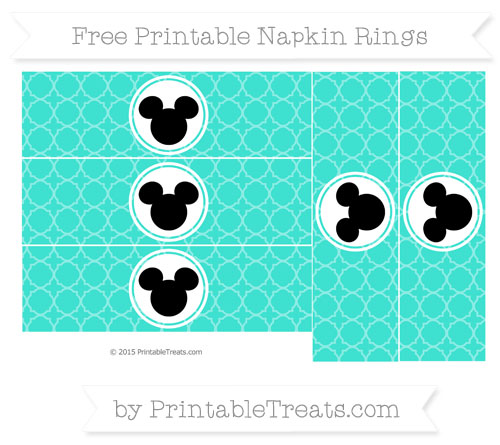 Free Turquoise Quatrefoil Pattern Mickey Mouse Napkin Rings
