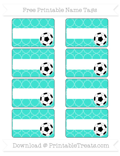 Free Turquoise Quatrefoil Pattern Soccer Name Tags