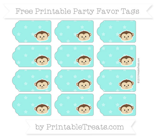 Free Turquoise Star Pattern Boy Monkey Party Favor Tags