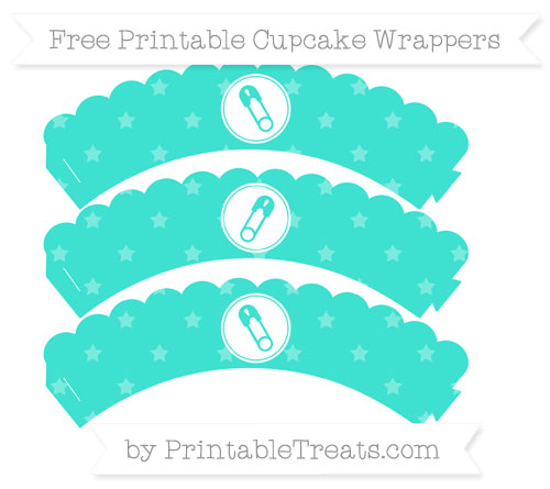 Free Turquoise Star Pattern Diaper Pin Scalloped Cupcake Wrappers