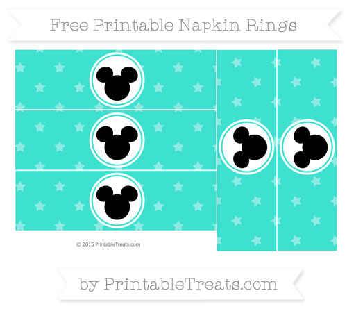 Free Turquoise Star Pattern Mickey Mouse Napkin Rings