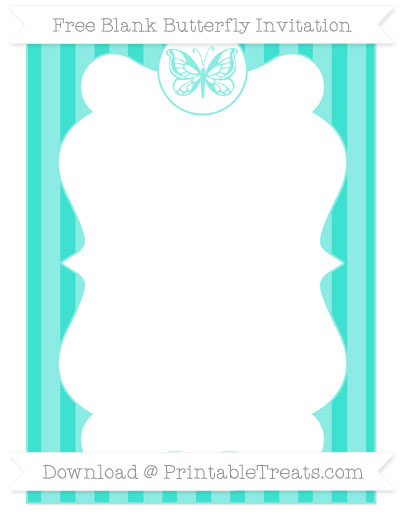 Free Turquoise Striped Blank Butterfly Invitation