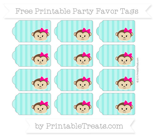 Free Turquoise Striped Girl Monkey Party Favor Tags
