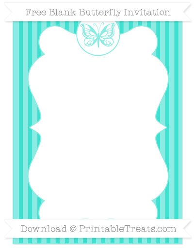 Free Turquoise Thin Striped Pattern Blank Butterfly Invitation