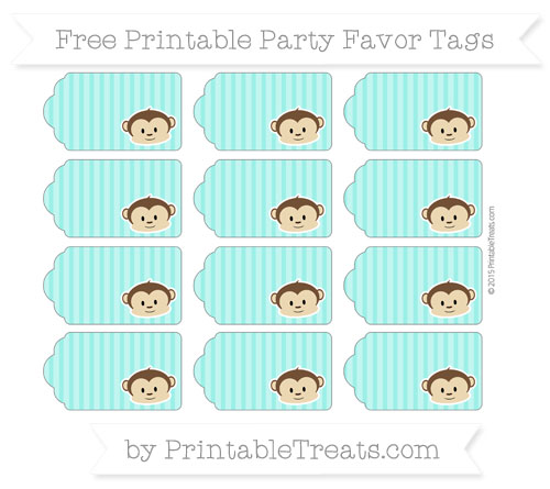 Free Turquoise Thin Striped Pattern Boy Monkey Party Favor Tags
