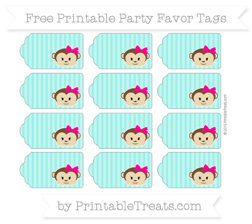 Free Turquoise Thin Striped Pattern Girl Monkey Party Favor Tags