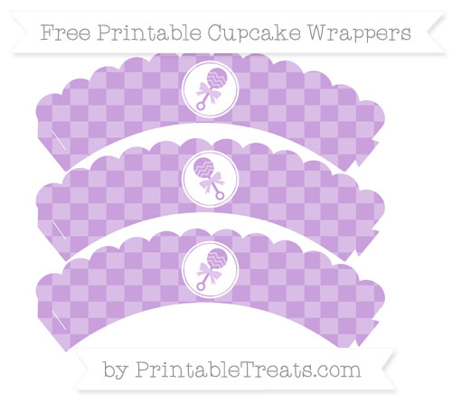 Free Wisteria Checker Pattern Baby Rattle Scalloped Cupcake Wrappers
