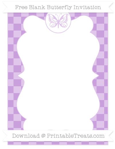 Free Wisteria Checker Pattern Blank Butterfly Invitation