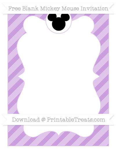 Free Wisteria Diagonal Striped Blank Mickey Mouse Invitation
