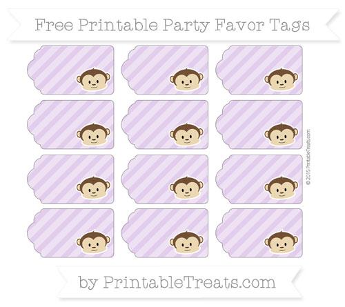Free Wisteria Diagonal Striped Boy Monkey Party Favor Tags