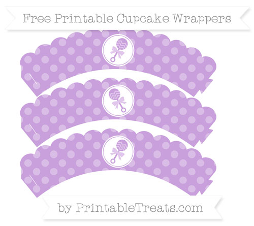 Free Wisteria Dotted Pattern Baby Rattle Scalloped Cupcake Wrappers