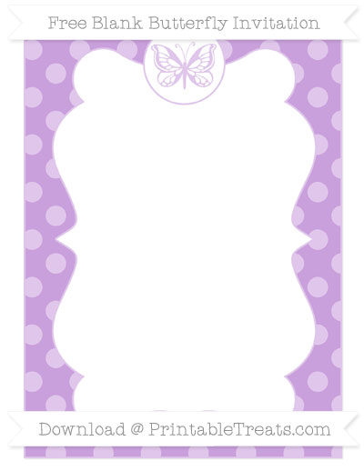 Free Wisteria Dotted Pattern Blank Butterfly Invitation