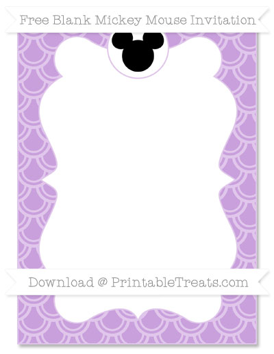 Free Wisteria Fish Scale Pattern Blank Mickey Mouse Invitation