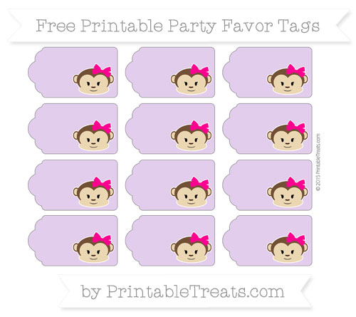 Free Wisteria Girl Monkey Party Favor Tags