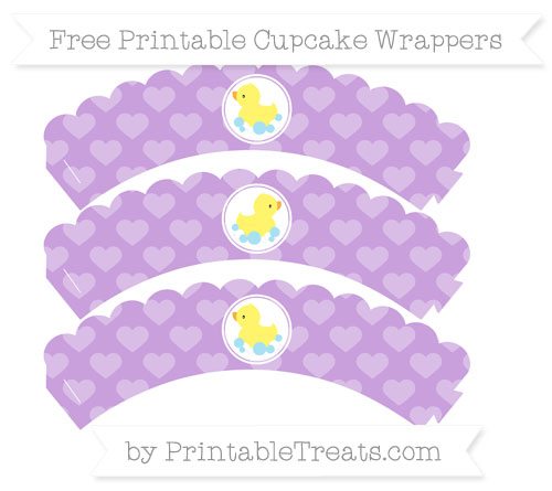 Free Wisteria Heart Pattern Baby Duck Scalloped Cupcake Wrappers