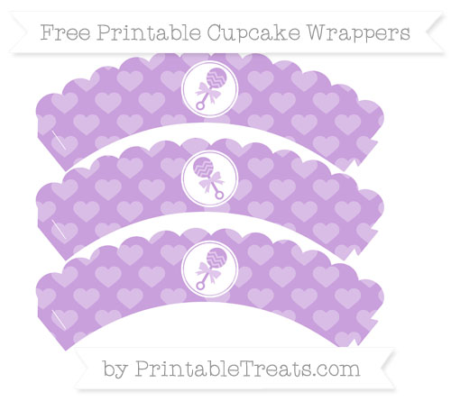 Free Wisteria Heart Pattern Baby Rattle Scalloped Cupcake Wrappers