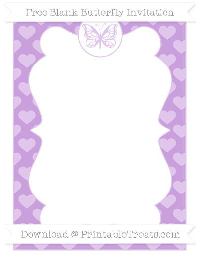 Free Wisteria Heart Pattern Blank Butterfly Invitation