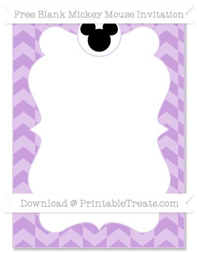 Free Wisteria Herringbone Pattern Blank Mickey Mouse Invitation