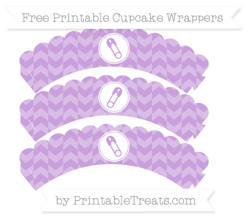 Free Wisteria Herringbone Pattern Diaper Pin Scalloped Cupcake Wrappers