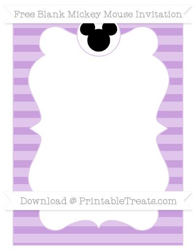 Free Wisteria Horizontal Striped Blank Mickey Mouse Invitation